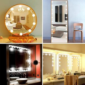 Hollywood Style LED Vanity Mirror Lights Kit 10 Dimmable Bulbs Makeup Dressing Table Light No Plug Makeup Lamp Wall Light
