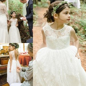 Flower Girl Dresses For Wedding Full Lace 2021 Jewel Neck Backless A Line Little Girl's Pageant Birthday Gowns First Communion Dress AL7815