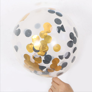 12inch 5Pcs Set New Multicolor Latex Sequins Filled Clear Balloons Novelty Kids Toys Beautiful Birthday Party Wedding Decorations HHE3411