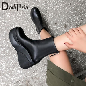 DORATASIA New Fashion women's Genuine Leather Black Booties 2020 Wedges Ankle Boots Ladies High Heels Platfrom Shoes Women
