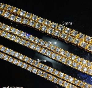 Men's Hip Hop Bling Bling Iced Out Tennis Chain 1 Row M 4mm Necklaces Sumptuous Clastic High Grade Men Cha bbyVGz nana_shop