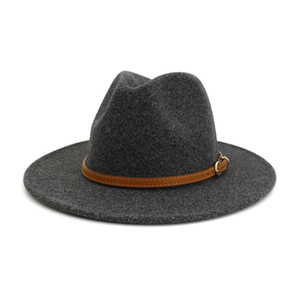 Best HOAREE Beige Wool Fedora Hat for Woman British Style Mens Fedora Hat with Belt Casual Unisex 2020 New Fall Winter Wide Brim Hat