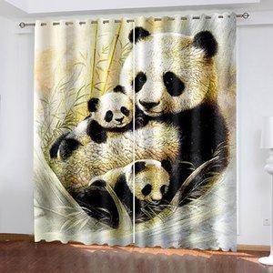 Rideaux 3D 3D de Prestige pour salon Literie Chambre Bureau Green Bamboo Panda Rideaux Décoration Rideaux