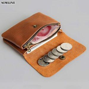 SIMLINE en cuir véritable hommes Wallet Femmes Vintage Court Petit Mini Portefeuilles d'homme Porte-monnaie Porte-cartes poche zippée Carteira C1115