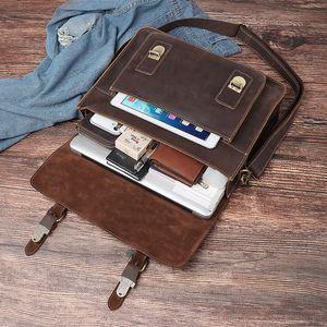 HUMERPAUL Men Briefcase Bag Crazy Horse Leather Shoulder Messenger Bags Famous Brand Business Office Handbag for 14 inch Laptop