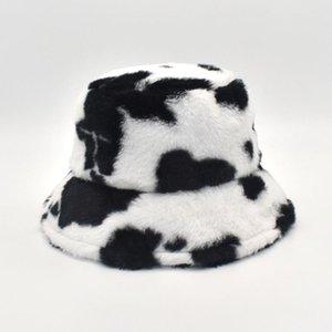 Bucket Casquettes Fashion Faux Velvet Vache 2020 Panama Nouveau pour Fisherman Hiver Seau Chapeaux Femmes Gorra Fourrure Print Chapeau Daaxw