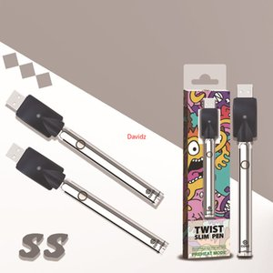 Original ECT Coso Twist VV Preheat Battery 380mah Bottom Spinner Variable Voltage Vape Slim Pen 510 Thread Thick Oil DHL