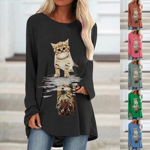 40 Women Fashion Casual Cat Print O Neck Loose Long Sleeve Shirts Autumn Elegant Blouse Daily Brief Pullover Graphic Top