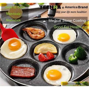 4 7-hole Frying Pot Thickened Omelet Pan Non-stick Egg Pancake Steak Pan Cooking Egg Ham Pan jllkCz comb2010