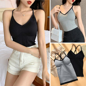 Women Sports Bra Crossover Strap Tube Top Camisole Anti-emptied Long Vest Padded Vest Wrapped Chest Beauty Back Tank Top