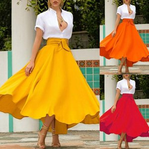 Hirigin Fashion Women Ladies Skirts Solid Bandage Pleated Cocktail Party High Waist Summer A Line Skirts With Pocket 2021 New