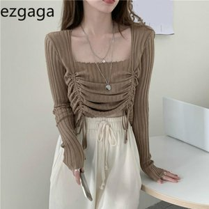 Ezgaga Crop Tops Femmes Automne Mode Collier Square Curstring Coréen Réglable Solide Solide Slim Digle Sweater Pull Pull