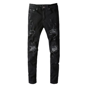 Men's Bandana Paisley Patchwork Ripped Jeans Streetwear Slim Skinny Stretch Denim Pants High Quality