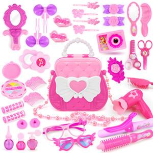 Juguetes de maquillaje para niñas con bolso lindo simulación juguete de bricolaje bricolaje princesa peluquería prender juego para niños Play House Q1217
