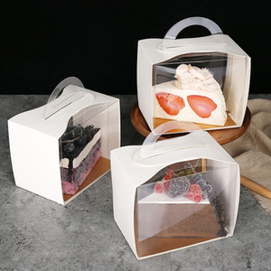 Portable Transparent White Cardboard Layer Cut Pieces Diced Cake Box With Mousse Box West Point Box LX3325