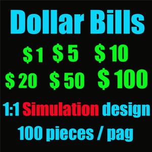 Fake Prop Money Simulation Simulation Billets de simulation Document de simulation Faux accessoires Pièces de monnaie 5 10 20 50 100 US Dollar Bills Props Jouet Coins 01