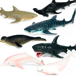 Simulation Ocean Animal Model Children Soft Rubber Killer Whale Great White Shark Dolphin Seal Figure Doll toy for children Gift