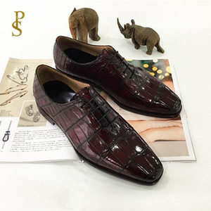 Crocodile leather men's shoes hand-made men's leather shoes customized1