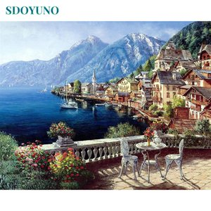 SDOYUNO Frame DIY Painting By Numbers Kits Harbor Chair Landscape Acrylic Paint By Numbers Living Room Painting & Calligraphy Q1123
