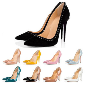 Fashion red bottom women high heels party wedding triple black nude yellow pink glitter spikes studes Toes Pumps Dress shoes size 35-42