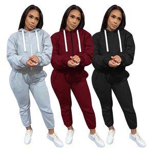 Mulheres Tracksuit Manga Longa Hoodie Outfits 2 Piece Set Sportswear Moda Imprimir Esporte Terno Outono Inverno Mulheres LW2602