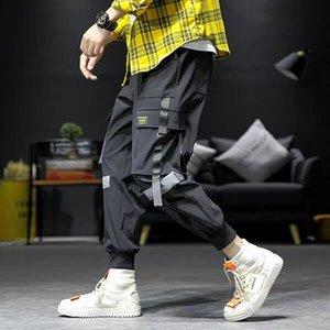 Mens hip hop pile cargo pantaloni joggers tuta pantaloni tuta da uomo nastri streetwear harem pants donne moda pantaloni howdfeo