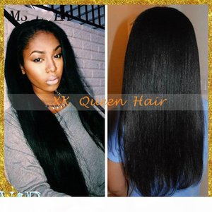 8A Brazilian Full Lace Wigs Yaki Straight Lace Front Wigs With Baby Hair For Black Women Virgin Peruvian Human Hair Wigs
