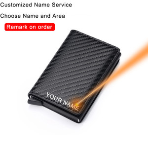 Carbon Fiber Card Holder Wallets Men Brand Rfid Black Magic Trifold Leather Slim Mini Wallet Small Money Bag Male Purses