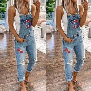 Venda quente em 2020 Quatro Seasons Street Hipster Lips Imprimir macacões de calça jeans mid-arranhões mulheres escovadas buracos