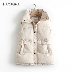 BIAORUINA Women's Korean Style Solid Sleeveless Keep Warm Winter Coat Single Women Breasted Loose Thick Fashion Vest Q1119