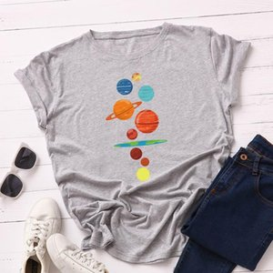 2020 New Women T Shirts Plus Size Short Sleeve Cotton Tshirt Female Harajuku Planet Graphic Tee Lady Loose Basic Tops Oversized