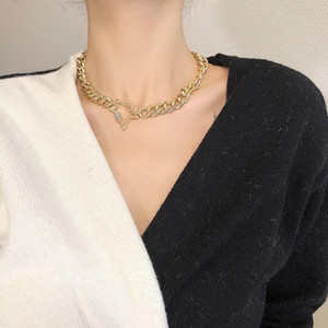 LOVOACC Rhinestone Star Carabiner Chokers Necklaces Gold Chunky Cuban Link Chain Necklace for Women Screw Lock Clasp Necklace