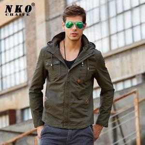 Giacche di cotone chaifenko uomini moda casual bombardiere volo uomini giacca nuovo primavera autunno pilota cargo con cappuccio cappotto 4xl