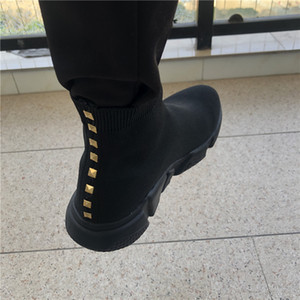 2020 new platform sock shoes speed trainer mens womens Stud socks casual shoes vintage tripler black white boots sneakers Big size A011