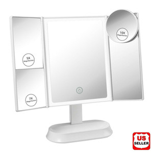 Led Lighted Mirror w  Magnifying Portable Vanity Makeup Compact Trifold Dimmer