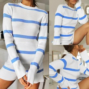 Women'S Fashion Round Neck Casual Fresh Striped Long Sleeve Shorts Casual Suit Striped1