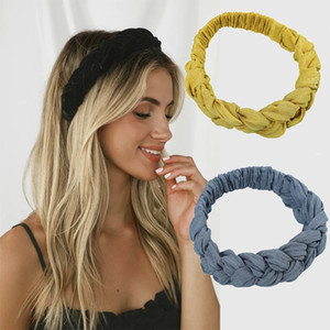 Pure Color Twist Hair Bands Fashion Braids Hair Accessories Women Bohemian Plait Elastic Cotton Headband Stretch Bandana