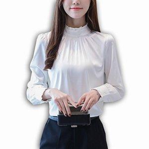 Foxmertor Fashion Elegante Satin Comfort Donne Camicetta Autunno Manica lunga Solida Camicie Biancane Bianco Ruffled Femmina Signore Top