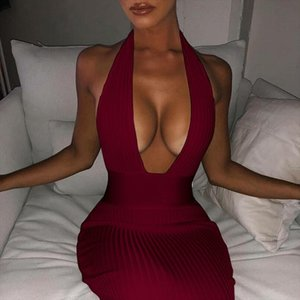 Elegant Halter Knitted Dress Sexy Low Cut Club Party Women Long Dress Bodycon Bandage Backless Femme Wrap Hip Vestiods Red White