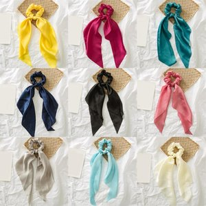 Elegant Women Elastic Hair Bands Hair Scarf Scrunchies Fashion Solid Color Headwear Ribbon Girls Accessories Hot Sale