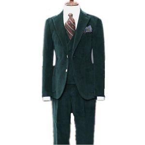Men's suit trousers vest Men Dark Green Corduroy Suits Formal Business Groom Wedding Tuxedos Two Button