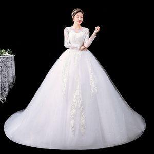 New Fashion Elegant O-Neck Vestidos De Novia 2021 Wedding Dress Brides Luxury Train Sequined Lace Applique Embroidery Plus Size
