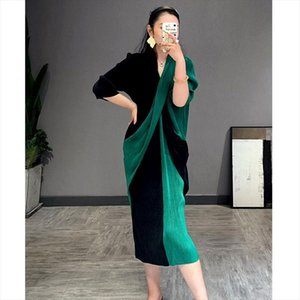 2020 casual a line v neck mid calf three quarter sleeve Patchwork elegant cross stitching slimming pleated dress 2A221