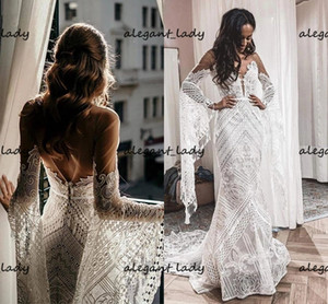 Flare Long Sleeve crochet Lace Wedding Dresses Hippie Style Symphony country Bridal Gowns See Through Sexy Vestido De Noivas