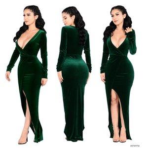 womens designer Gold velvet fabric deep V sexy slit party evening dressRQPT HHSW