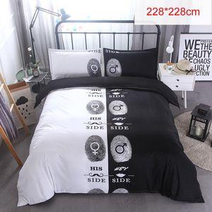 3pcs Luxury Coppia di coppia 3D Stampa 3D Black / White Cover Duvet Set Biancheria da letto Federa