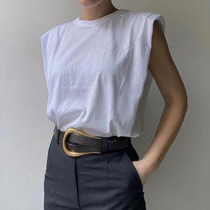 2020 New Summer Fashion Shoulder Sleeveless Loose Slim Round Neck Solid Color Vest Top Women SB530