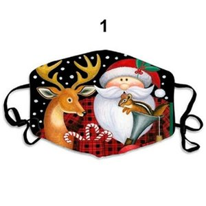 2020 European and American cross-border Christmas Santa Claus Christmas deer digital print mask factory direct sales