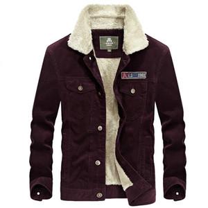 Winter Fleece Jacket Men Thick Warm Windbreaker Coat Men Corduroy Mens Casual Cotton Military Jacket Short Wide-waisted Outwear