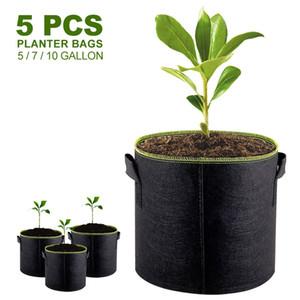 5pcs 5 7 10 Gallon Felt Plant Growing Bags Vegetable Flower Potato Pot Container Garden Planting Basket Farm Home Mushroom Seed Q1125